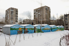 Children playing painted on the garages. In the yard in St. Petersburg 2016-02-23 Royalty Free Stock Photos