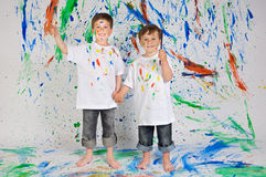 Children playing with painting Royalty Free Stock Images