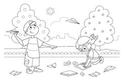 Children playing with paper airplanes. Smiling boy and girl playing with paper airplanes. Coloring illustration Royalty Free Stock Photo