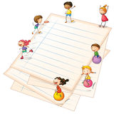 Children playing at the paper borders Royalty Free Stock Photo