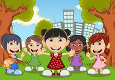 Children playing in the park cartoon Royalty Free Stock Photo