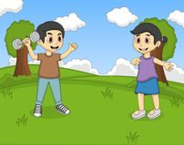 Children playing in the park cartoon Royalty Free Stock Photography