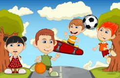 Children playing in the park cartoon vector illustration Stock Image