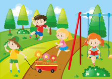Children playing in park. Illustration Stock Photography