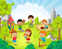 Children playing in the park vector Stock Photos