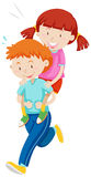 Children playing piggy back ride Stock Photography