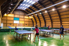 Children Playing Ping Pong. In The National Olympics Stadium In Izvorani, Romania royalty free stock photos
