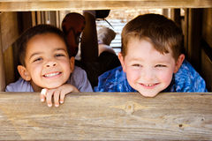 Children playing on playground Stock Photo