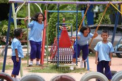Funny Kids. Children are playing in the playground. Be happy and cheerful Royalty Free Stock Photos