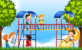 Children playing in the playground at daytime Royalty Free Stock Photography
