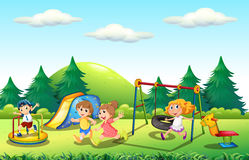 Children playing in the playground. Illustration Stock Images