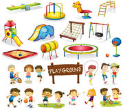 Children playing and playground set Royalty Free Stock Photo