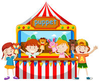 Children playing puppet together Royalty Free Stock Photos