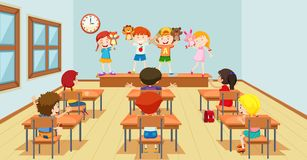 Children playing with puppets classroon scene stock illustration