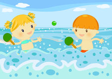 Children playing rackets in the sea. Illustration about 2 cute little kids playing rackets among the sea waves Stock Images