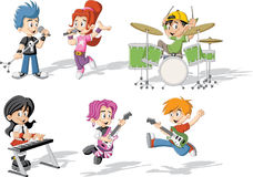 Children playing on a rock'n'roll band Royalty Free Stock Images