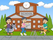 Children playing rocking horse and teeter at school cartoon Stock Photography