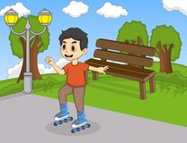Children playing roller skate cartoon. Full color royalty free illustration