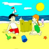 Children playing in the sand. Cartoon style illustration that shows two children (boy and girl) playing with the sand on the beach. Hi-Res image perfect for web royalty free illustration