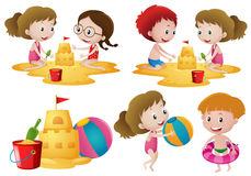 Children playing sand on the beach Stock Photography