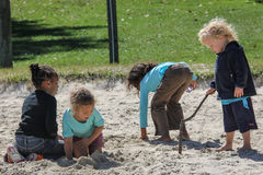Children Playing in the Sand Royalty Free Stock Images