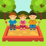 Children playing in the sandbox. Children`s playground. Baby-themed flat stock illustration with isolated elements. royalty free illustration