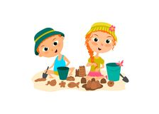 The children are playing in sandcastle on the beach . Brother and sister building a sand castle.  vector illustration
