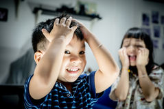 Children playing Scary Ghost faces. Children are playing Scary Ghost faces stock photo