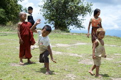 Children playing on the school field. Burma Stock Images