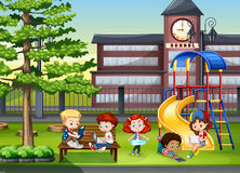 Children playing in the school playground Stock Images
