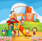 Children playing in the school playground Royalty Free Stock Photography