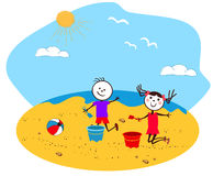 Children playing at the seaside. A illustration of children at the beach Stock Photo