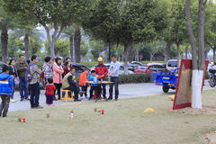 Children playing shooting games in haicang bay park Stock Photo