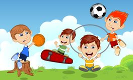 Children playing skateboard, basketball, jumping rope, soccer in the park cartoon vector illustration Stock Images