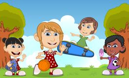 Children playing skateboard, basketball, soccer, eating ice cream in the park cartoon. Full color Stock Photography