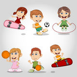 Children playing skateboard, soccer, basketball, jumping rope cartoon Royalty Free Stock Photos