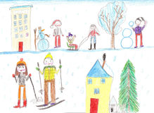 Children playing, skiing and sledding. Make a snowman. Drawing k Stock Images