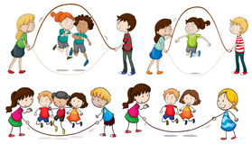 Children playing skipping rope. Illustration of the children playing skipping rope on a white background Stock Photography