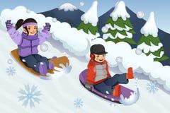 Children Playing Sledding. A vector illustration of children playing sledding in the snow Stock Images