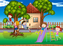 Children playing slide in the playground. Illustration Royalty Free Stock Image
