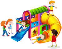 Children playing on slide at playground. Illustration Royalty Free Stock Images