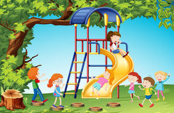 Children playing slide in playground. Illustration Stock Photo