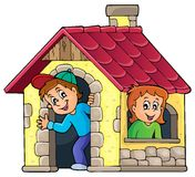 Children playing in small house theme 1 Royalty Free Stock Photos
