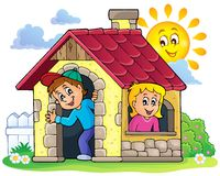 Children playing in small house theme 3 Stock Images