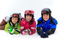 Children playing in snow Royalty Free Stock Photo