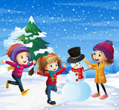 Children playing in the snow. Illustration Royalty Free Stock Photography