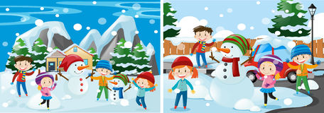 Children playing with snow. Illustration Royalty Free Stock Photography