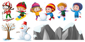 Children playing in the snow. Illustration Stock Photo