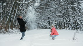 Children Playing With Snow in the Park stock video footage