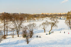 Children Playing With Snow After Snowfall On Winter Day In Tineretului Park Of Bucharest Stock Photos